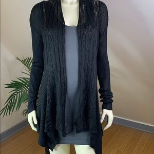 Sweaters - Open Front Stretchy Black Cardigan M